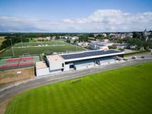 Tribune du stade Henri Michel - vue aérienne
